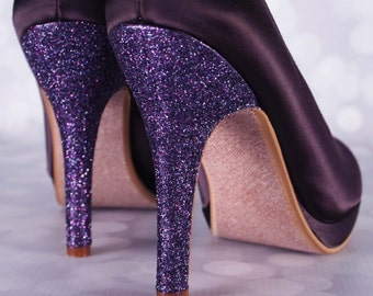 Lapis Purple Wedding Shoes / Glitter Heel / High Heel Wedding Shoes / Closed Toe Bridal Shoes / Unique Wedding Accessories / Glitter Wedding