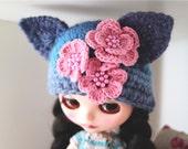 Blythe cat hat. Ear hat for newborn prop. ooak Blythe ears hat. Blythe accessories. Blythe doll hat. pink blue hat.