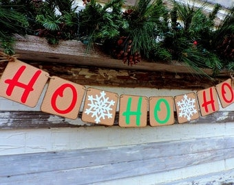 Ho Ho Ho Banner - Christmas Photo Prop - Snowflake Banner - Christmas Banner - Christmas Decor - Christmas Mantle Banner