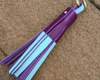 Purple Leather Keychain