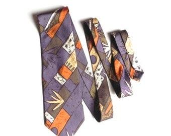 ON SALE Garrison Silk Men's Necktie in Lavender, Light Orange, Taupe, and Cream