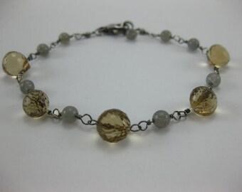 Smoky Quartz - Labradorite - Oxidized Sterling Silver Bracelet - 3158