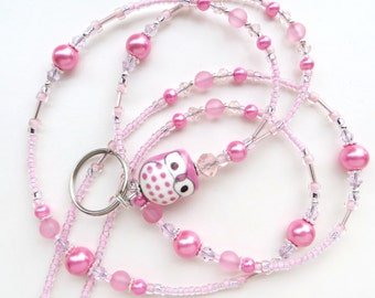 PINK OWL- Beaded ID Lanyard Badge Holder- Porcelain Owl, Glass Pearls, Lucite Beads, and Sparkling Crystals (Magnetic Clasp)