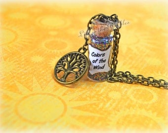 Pocahontas Necklace, Colors of the Wind Magical Necklace and Grandmother Willow Bronze Charm, Bottle Necklace,  by Life is the Bubbles