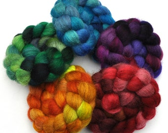 Hand Dyed Roving Rainbow 5-Pack - Gray Masham wool spinning fiber - 10 ounces