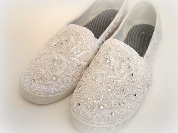 wedding bridal flat tennis shoes chic white lace