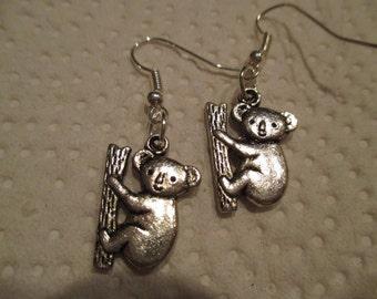 Koala Bear Silver Earrings