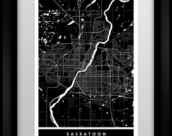 Saskatoon - Saskatchewan - Canada - City Minimalist Map Art Print - Black and White - Poster