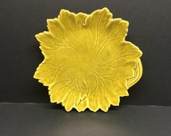 Vintage Woodfield Steubenville  Mustard Green Leaf Plate 9 inch