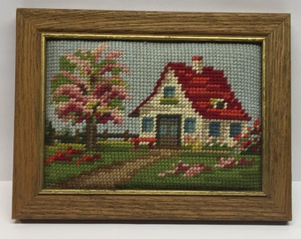 Vintage Framed Needlepoint Country cottage  5 x 7 Paper backed