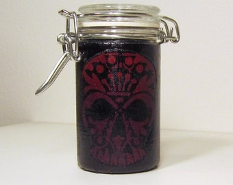 Small Glass Stash Jar : Latch Top Jar - Barely there Red Tribal Skull on Deepest Black