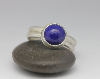 Lapis Lazuli & Sterling Ring, Lapis Ring, Modern Classic Ring, Royal Blue, Size 8.25