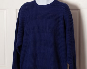 Vintage Men's Big Comfy Knit Sweater - AMERICAN WEEKEND - navy - XL