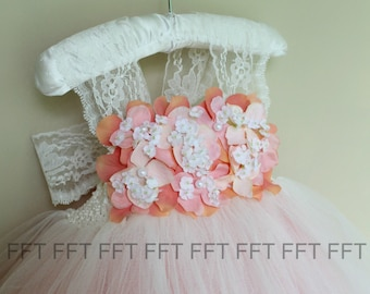 Coral and Ivory Flower Girl Tutu Dress With Lace Shoulder Straps
