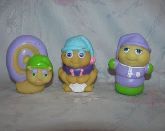 Vintage Glow Worm Set of 3 Glo Friend from Wendy's - Original Glo Worm, Glo Snail, and Glo Spider - Some Paint Wear