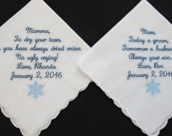 Wedding Handkerchief embroidered on scalloped edge handkerchiefs for the Mother of the Bride and Mother of the Groom
