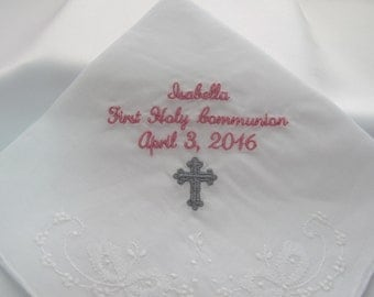 Embroidered handkerchief for First Holy Communion
