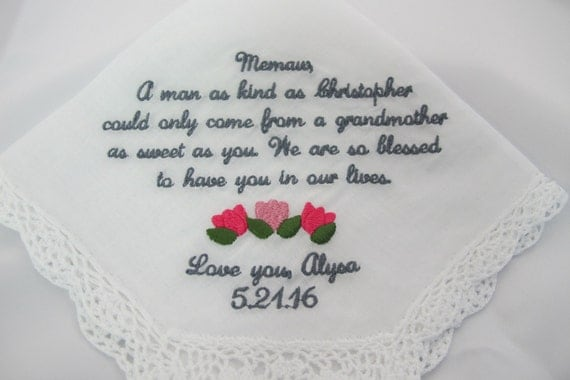 Wedding Handkerchief Embroidered for the Grandmother