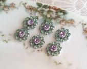 Pacific Opal / Violet Swarovski crystal flower matte silver (x6+)