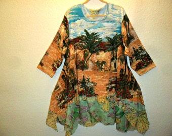 Recycled  shirt dress  Summer dress Cotton tunic Plus size