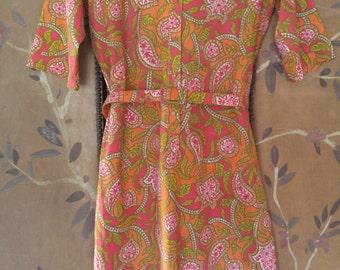 60s orange swirl belted shift dress by Lady Bayard