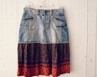 Boho Grunge Midi Skirt, Upcycled Denim Blue Orange Summer  S M Skirt, Hippie Gypsy Eco Bohemian Clothing, Recycled Jean Refashioned Clothes