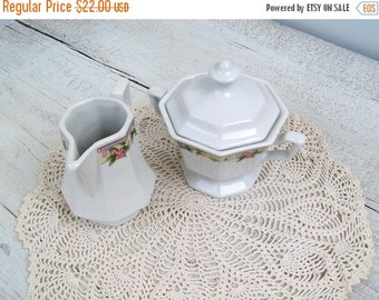 Porcelain Cream and Sugar set, Vintage porcelain white serving set, Mid century modern Tableware, Party table, collectible, Hostess gift