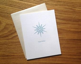 Letterpress Holiday Card - Modern Blue Snowflake