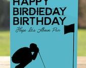 Happy Birthday Dad Card: Golfer Dad Greeting Card   A7 5x7 Folded - Blank Inside - Wholesale Available