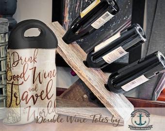 Wine Bag BYOB | Drink Good Wine & Travel the World (Red) | 1 or 2 Bottle Neoprene Wine Carrier Tote |  Bottle Holder |