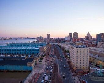 Philadelphia Fine Art Photography on the Delaware Sundown from Ben Franklin Bridge Product Options and Pricing via Dropdown Menu