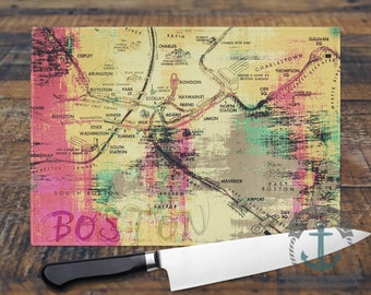 Glass Cutting Board - Boston Map | City Maps Hometown Decor | Small or Large Kitchen Art for Your Countertop