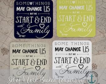 Family Coaster Set: Inspirational Family Love Home Decor | Cork Back Home Accessories