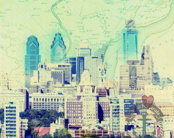 Philadelphia Vintage Map | Heart in Philadelphia Skyline | Product Options and Pricing via Dropdown Menu
