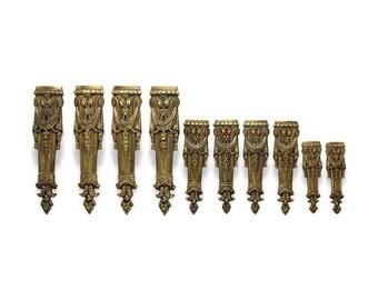 Set of 10 bronze leg appliques