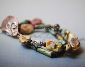 Rainforest ..artisan made bracelet..Nature, floral