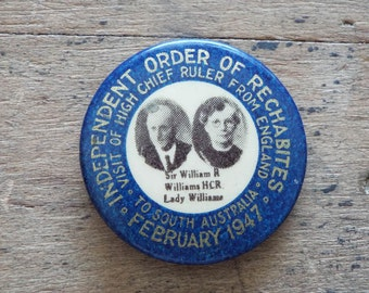1947 Independent Order of Rechabites Button Pin, American History Teacher Gift Ideas, Unique Antique Present for Grandparents, Anniversary