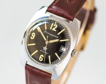 Black military men's watch Soviet, shockproof men watch, dustproof men watch Komandirskie, mechanical watch 70s, new nylon or leather strap