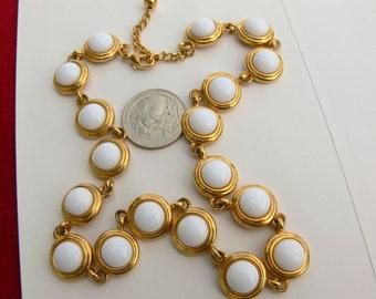 napier goldtone  white glass necklace