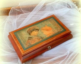 """FALL SALE Vintage Jewelry Music Box - Plays BARCAROLE from the """"Tales of Hoffman"""" Laquered Lid - Romeo and Juliet - Romantic Gift"""