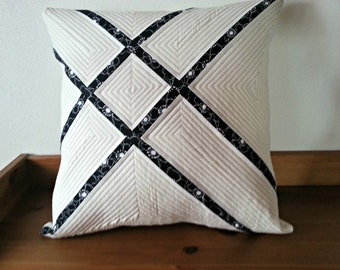 Zen pillow - decorative pillow - white pillow - quilted pillow cover - modern quilted pillow - patchwork pillow