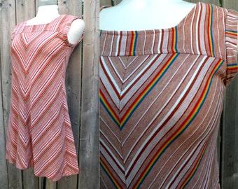 60s Chevron Mod Mini Dress - S M