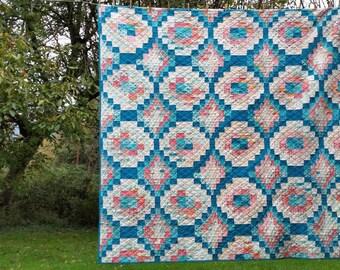 Sunny Trips Moda Bake Shop cotton quilt, Bright Sun, queen size 90''x90''