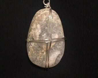 Striking Wire-Wrapped Sea Stone Pendant