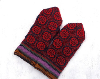 knitted wool mittens, hand knit latvian mittens, knit colorful gray red winter gloves, nordic arm warmers, multicolor accessories, women men