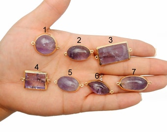 Amethyst Pendant with 24k Electroplated Gold Edge- YOU CHOOSE (LOT G-577)