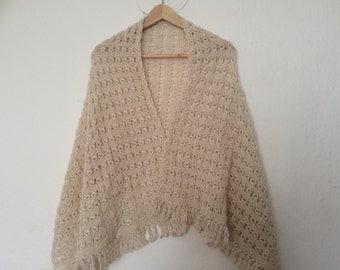 Knit Shawl Wrap Stole, Hand Knit Wrap Stole