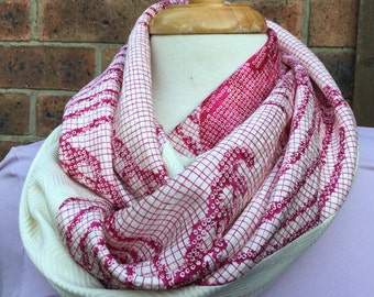 Silk infinity scarf in pink and cream vintage Japanese  kimono  silk
