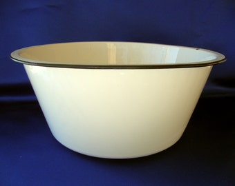 Vintage enamel ware enamelware basin round deep white black hole
