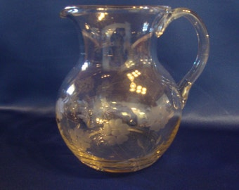 Vintage clear glass pitcher etched